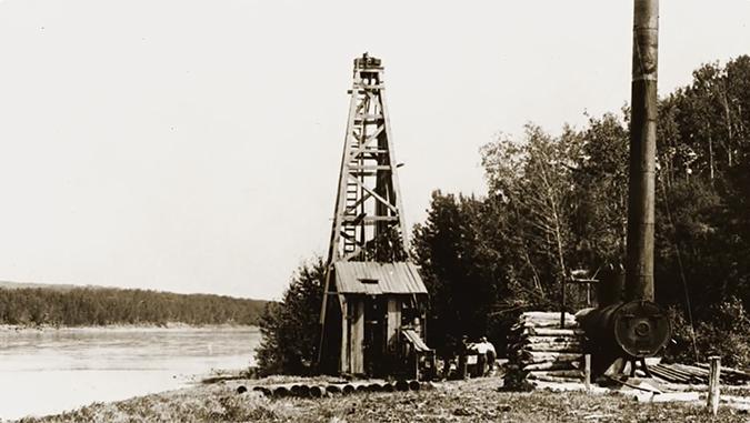 Drilling rig, Victoria, Alberta, 1898